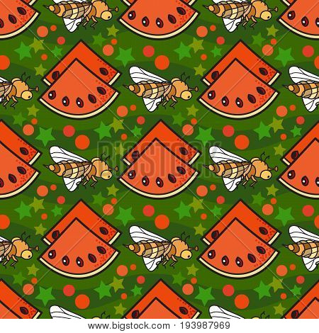 Bright  seamless pattern with slice of watermelon and bee. Seamless fabric. Background, wrapping paper, Wallpaper. Vector.  Decoration for gift paper, prints for clothes, textiles, wallpapers.