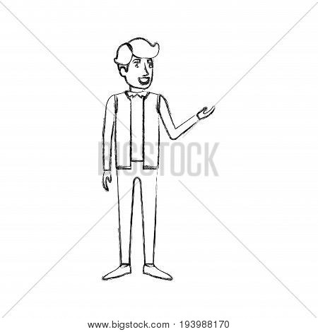 blurred silhouette of man standing in formal clothes and hair in side fringe vector illustration