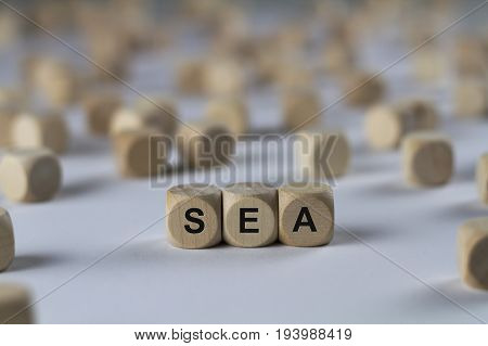 Sea - Cube With Letters, Sign With Wooden Cubes