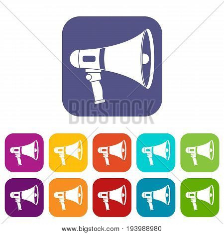 Megaphone icons set vector illustration in flat style In colors red, blue, green and other