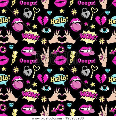 Seamless pattern with fashion patch badges with hearts, speech bubbles, stars and other elements.Vector background with stickers, pins, patches in cartoon 80s-90s comic style.