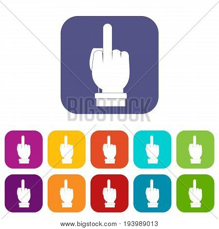 Middle finger hand sign icons set vector illustration in flat style In colors red, blue, green and other