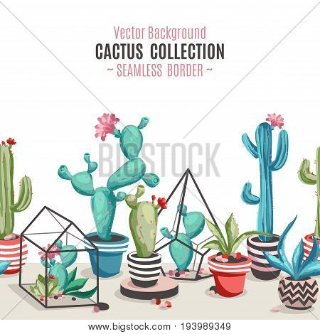 Cacti flower pattern. Seamless border with cactus and succulents. Hand drawn vector background in trendy cartoon style.