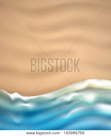 Sea wave on sandy beach coast. Vector illustration. Nature background. Top view