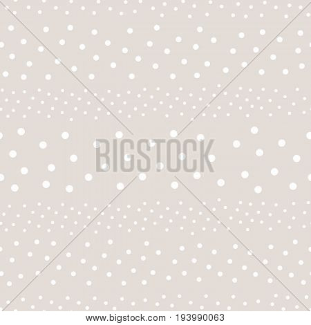 Polka dot pattern. Monochrome subtle texture in soft pastel colors white & beige. Abstract background with randomly scattered different circles. Design for decor, textile, fabric, web. Vector seamless pattern.