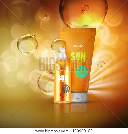 Sun protection cosmetics. Oil spray bottle with UV protection and moisturizing lotion tube. Packaging design. Vector illustration. Cosmetics mockup design.