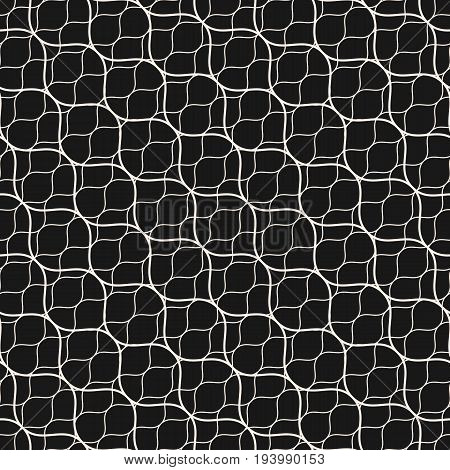 Vector seamless pattern. Thin diagonal wavy lines. Subtle texture of mesh, fishnet, lace, weaving, delicate grid. Dark monochrome geometric background. Elegant design for decor, covers, digital, web. Design pattern, textile pattern, fabric pattern.