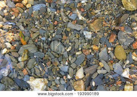 Stones inside of river in Montseny, Catalonia, Spain
