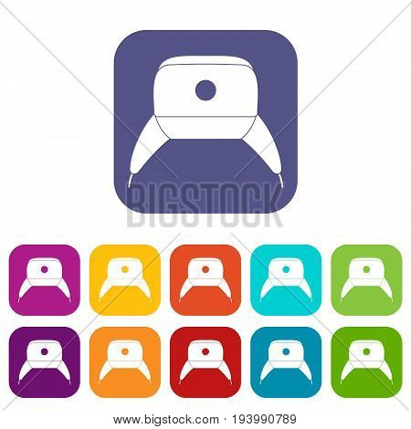 Earflap hat icons set vector illustration in flat style In colors red, blue, green and other