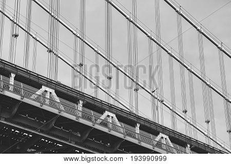 Close Up Picture Of The Manhattan Bridge, New York.