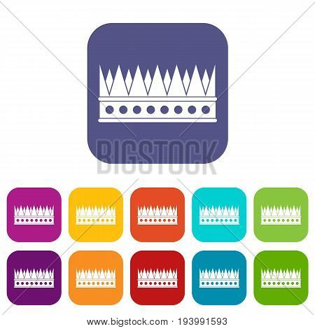 Regal crown icons set vector illustration in flat style In colors red, blue, green and other