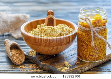 Sauce In A Jar, Powder And Mustard Seeds.
