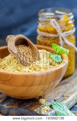 Mustard Seeds, Powder And Sauce In Glass Jar.
