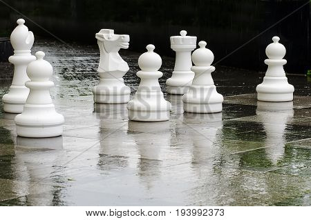 Large outdoor chess in the park in summer
