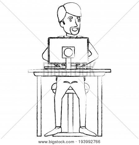 blurred silhouette of man with formal suit and beard van dyke and side parted hair and sitting in chair in desk in tablet vector illustration