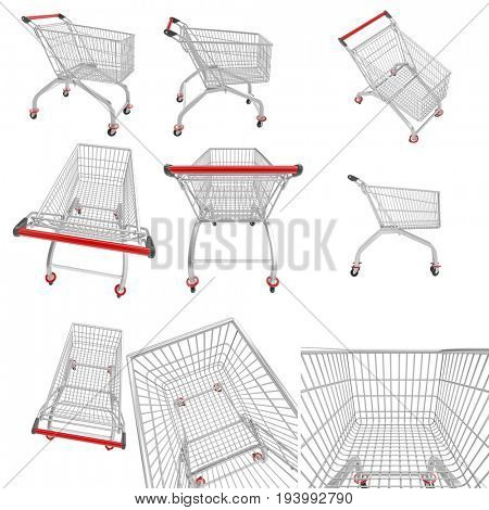 empty shopping cart isolated on white 3d rendering image