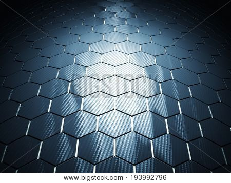 carbon fiber background hexagon pattern 3d rendering image