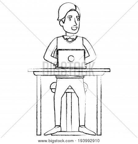 blurred silhouette of man with formal suit and side fringe hair and sitting in chair in desk in laptop device vector illustration