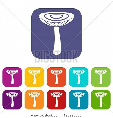 Mushroom russet icons set vector illustration in flat style In colors red, blue, green and other