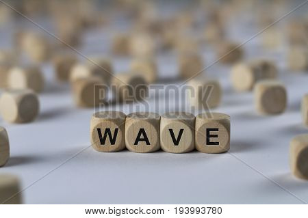 Wave - Cube With Letters, Sign With Wooden Cubes