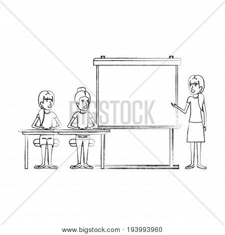 blurred silhouette pair of women sitting in a desk for female executive orator in presentacion business people vector illustration