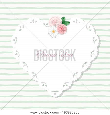 Heart doily frame decorated with roses on stripped pattern. With copy space for text or photo. Shabby chic design. vector