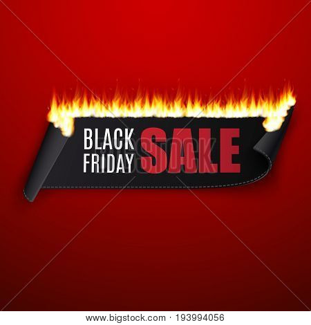 Black friday sale vector illustration with black ribbon and fire on red background.