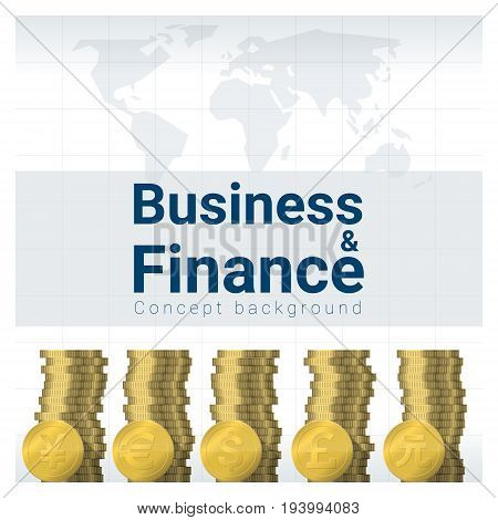 Business and Finance concept background with major currencies , vector , illustration