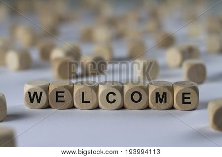 Welcome - Cube With Letters, Sign With Wooden Cubes