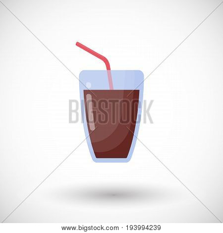 Glass of cola drink vector flat icon Flat design highball glass of sparkling drink with round shadow cute vector illustration
