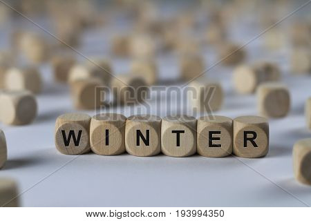Winter - Cube With Letters, Sign With Wooden Cubes