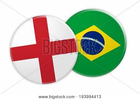 News Concept: England Flag Button On Brazil Flag Button 3d illustration on white background