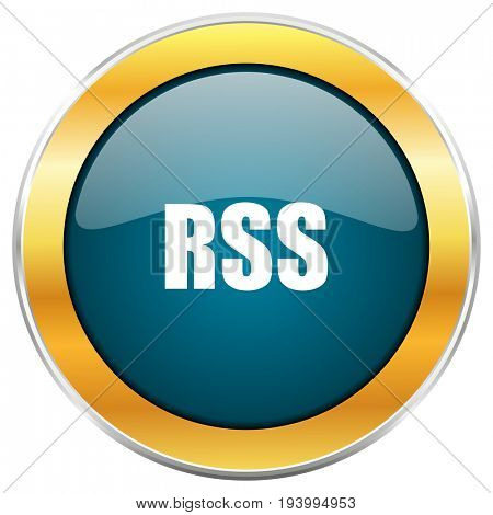 Rss blue glossy round icon with golden chrome metallic border isolated on white background for web and mobile apps designers.