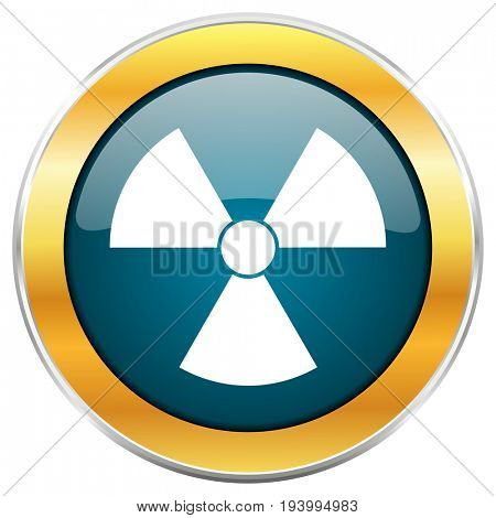 Radiation blue glossy round icon with golden chrome metallic border isolated on white background for web and mobile apps designers.
