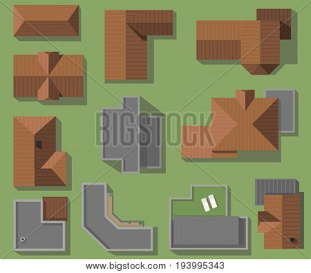 Top view of houses, roofs, vector set. Modern, high-tech and classic roofing houses.