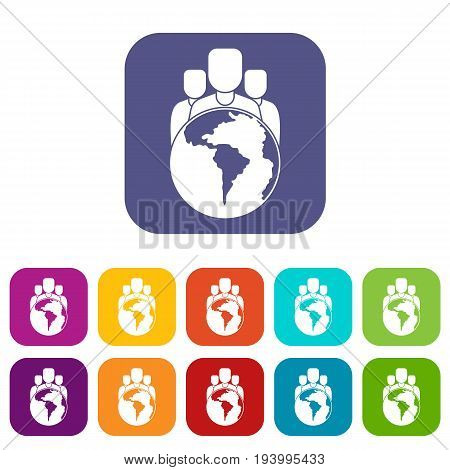 World planet and people icons set vector illustration in flat style In colors red, blue, green and other