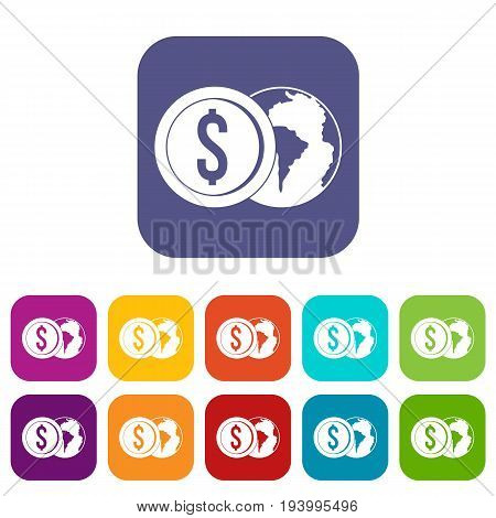 World planet and dollar coin icons set vector illustration in flat style In colors red, blue, green and other