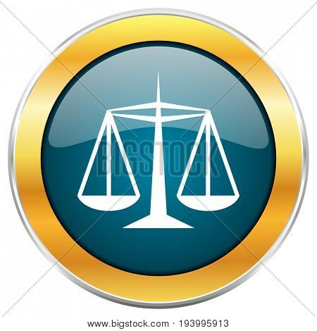 Justice blue glossy round icon with golden chrome metallic border isolated on white background for web and mobile apps designers.