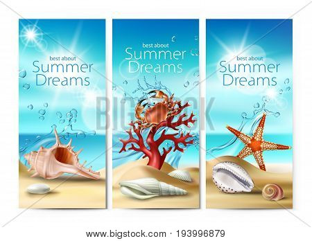 Set of vector illustrations, banners of a summer sandy beach with seashells, pebbles, starfish, crab and coral against the turquoise sky and the sea. Excellent advertising posters for a travel agency