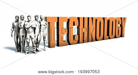 Business People Team Focusing on Improving Technology as a Concept 3D Illustration Render