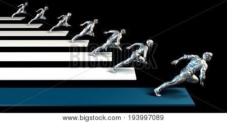 Business Leader or Leadership Concept with Team Racing 3D Illustration Render