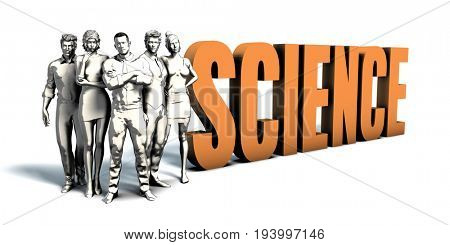 Business People Team Focusing on Improving Science as a Concept 3D Illustration Render
