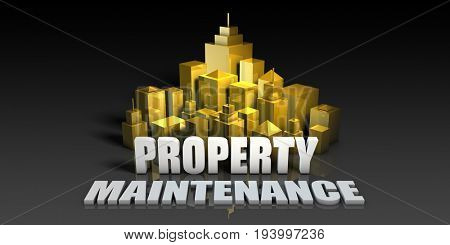 Property Maintenance Industry Business Concept with Buildings Background 3D Illustration Render