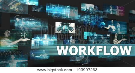 Workflow Presentation Background with Technology Abstract Art 3D Illustration Render