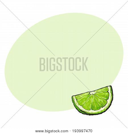 Quarter, segment, piece of ripe green lime, hand drawn sketch style vector illustration with space for text. Hand drawing of unpeeled grapefruit qurter, piece