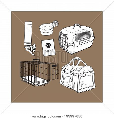 Pet transport, travel set - cage, carrier, bag, passport, drinker, food bowl, sketch vector illustration isolated on brown background. Pet transport, travel accessories on brown background