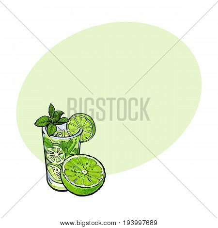 Lime slice and glass of freshly squeezed juice with ice and straw, sketch style vector illustration with space for text. Hand drawn glass of lime cocktail with ice and grapefruit slice