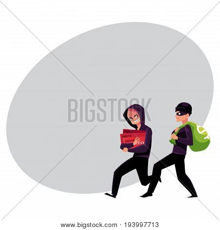 Thieves, robbers stealing money and credit card information, cartoon vector illustration with space for text. Cash money stealing and credit card fraud, robbery and fraudulent transactions