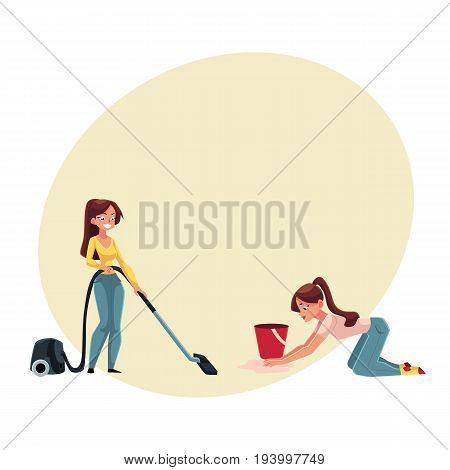 Pretty young woman, housewife washing and vacuum cleaning her house, doing housework, cartoon vector illustration with space for text. Beautiful woman girl washing floor, using vacuum cleaner