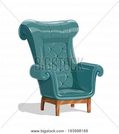 Big leather armchair. Vintage comfortable soft Furniture for relaxation. Isolated white background. Vector illustration.